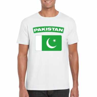 T shirt pakistaanse vlag wit heren