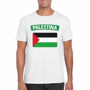 T shirt palestijnse vlag wit heren