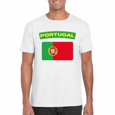 T shirt portugese vlag wit heren
