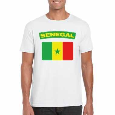 T shirt senegalese vlag wit heren