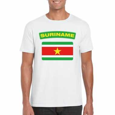 T shirt surinaamse vlag wit heren