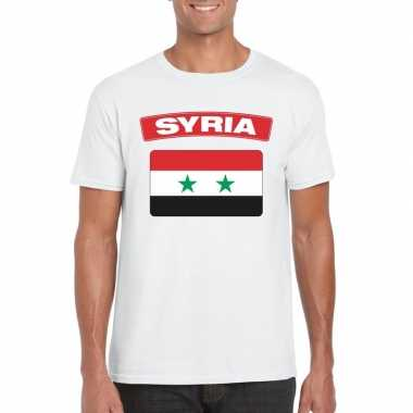T shirt syrische vlag wit heren