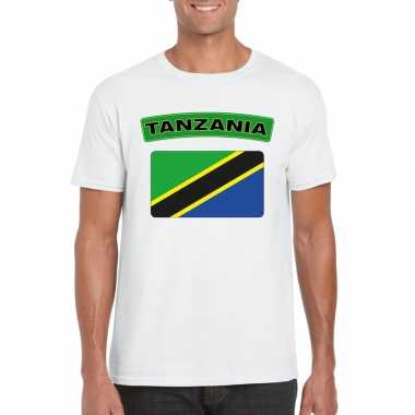 T shirt tanzaniaanse vlag wit heren