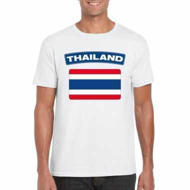 T shirt thaise vlag wit heren