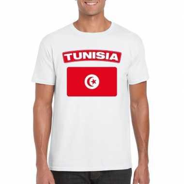 T shirt tunesische vlag wit heren