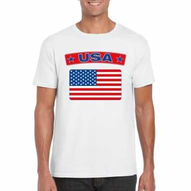 T shirt usa/ amerikaanse vlag wit heren