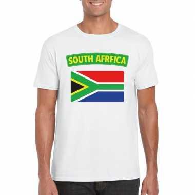 T shirt zuid afrikaanse vlag wit heren