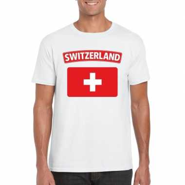 T shirt zwitserse vlag wit heren