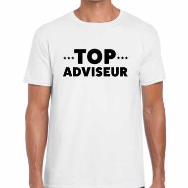 Top adviseur beurs/evenementen t shirt wit heren