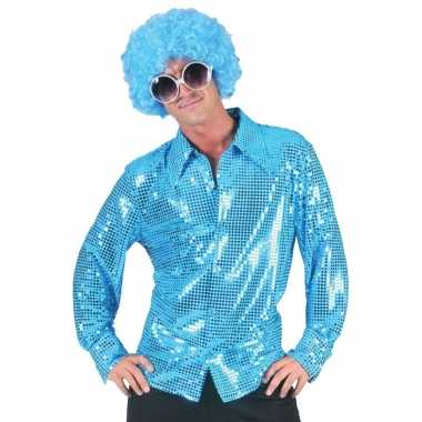 Toppers disco pailletten blouse blauw heren shirt
