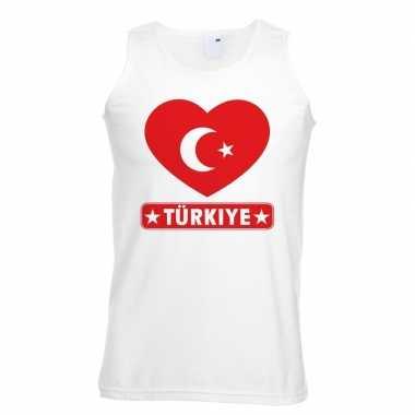 Turkije hart vlag singlet-shirt tanktop wit heren