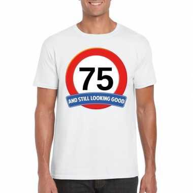 Verkeersbord jaar t-shirt wit heren 10107072