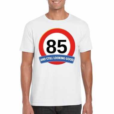 Verkeersbord jaar t-shirt wit heren 10107074