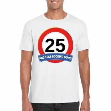 Verkeersbord jaar t-shirt wit heren