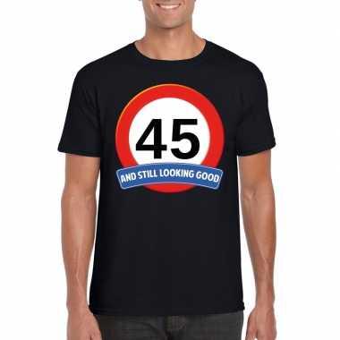 Verkeersbord jaar t-shirt zwart heren 10107038
