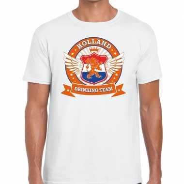 Wit holland drinking team t shirt heren