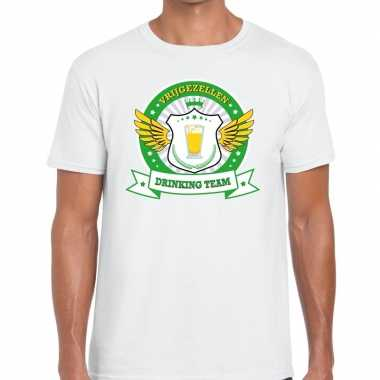 Wit vrijgezellenfeest drinking team t shirt groen geel heren