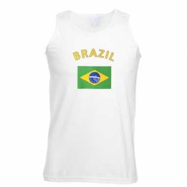 Witte heren tanktop brazilie shirt