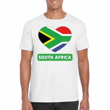 Zuid afrika hart vlag t shirt wit heren
