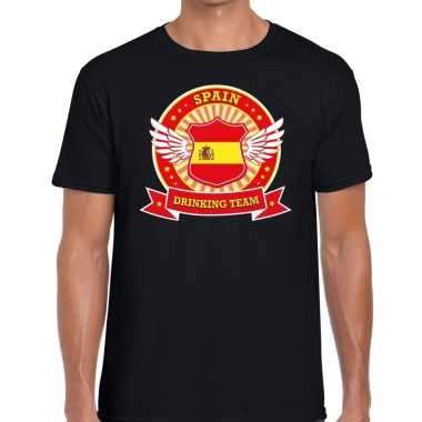 Zwart spain drinking team t shirt heren