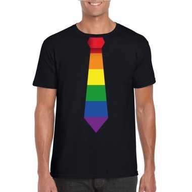 Zwart t shirt regenboog vlag stropdas heren