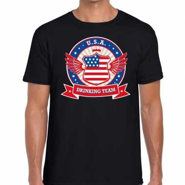 Zwart usa drinking team t shirt heren
