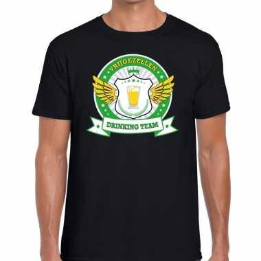 Zwart vrijgezellenfeest drinking team t shirt groen geel heren