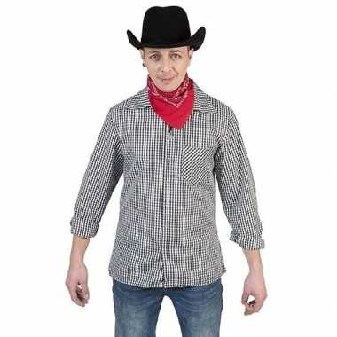 Zwart/wit geruit cowboy verkleed overhemd heren shirt