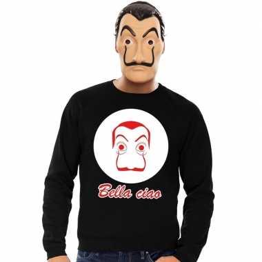 Zwarte salvador dali sweater la casa papel masker heren shirt