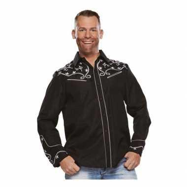 Zwarte western blouse heren shirt