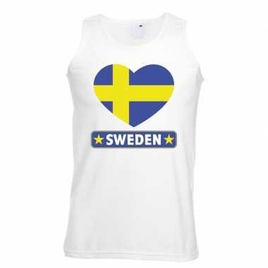 Zweden hart vlag singlet shirt/ tanktop wit heren