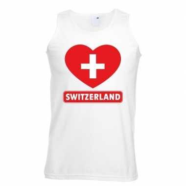 Zwitserland hart vlag singlet-shirt tanktop wit heren