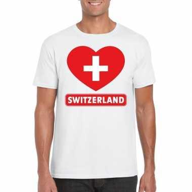 Zwitserland hart vlag t-shirt wit heren