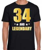 And legendary verjaardag cadeau t-shirt goud jaar zwart heren 10232744