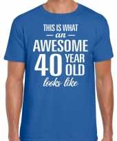 Awesome year jaar cadeau t-shirt blauw heren 10200012
