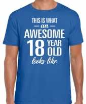 Awesome year jaar cadeau t-shirt blauw heren