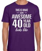 Awesome year jaar cadeau t-shirt paars heren 10200015