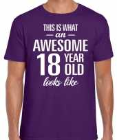 Awesome year jaar cadeau t-shirt paars heren