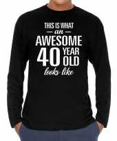 Awesome year jaar cadeaushirt long sleeves zwart heren 10195941