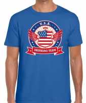 Blauw usa drinking team t-shirt heren