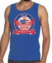 Blauw usa drinking team tanktop mouwloos shirt heren