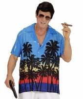 Blauwe maffiabaas verkleed blouse palmboomprint heren shirt