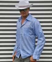 Cowboy blouse blauw heren shirt