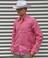 Cowboy blouse roze heren shirt
