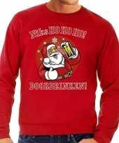 Foute kersttrui bier drinkende kerstman ho ho ho rood heren shirt