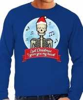 Foute kersttrui blauw last christmas i gave you my heart heren shirt