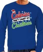 Foute kersttrui calories dont count christmas blauw heren shirt