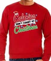 Foute kersttrui calories dont count christmas rood heren shirt