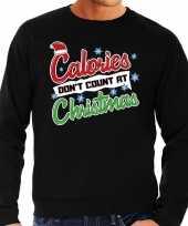 Foute kersttrui calories dont count christmas zwart heren shirt