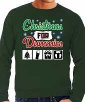 Foute kersttrui christmas for dummies groen heren shirt